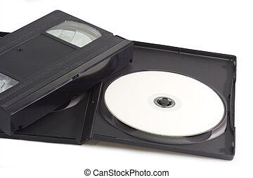 Videocassette and digital versatile disc isolated on white...