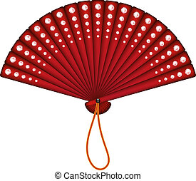 Red oriental fan with red diamonds on white background