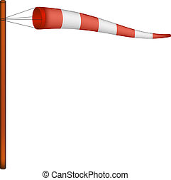 Red and white windsock on white background