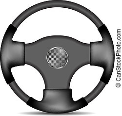 Steering wheel in black and white design isolated on white...