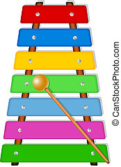 Colorful xylophone (musical instrument) isolated on white...