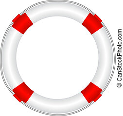 Life buoy in white and red design isolated on white...