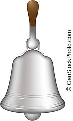 Silver hand bell isolated on white background