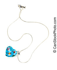 heart-shaped pendant - Blue heart-shaped pendant isolated on...