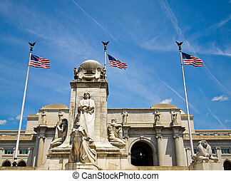 Union Station at Washington DC with Three American Flags