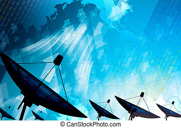 Satelita, półmisek, transmisja, Dane