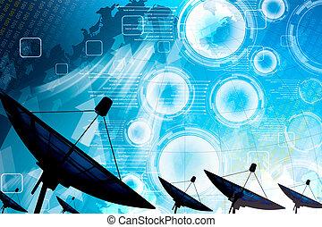 皿, 伝達, 人工衛星, データ