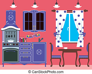 Kitchen furniture. Interior - Vector illustration. It is...