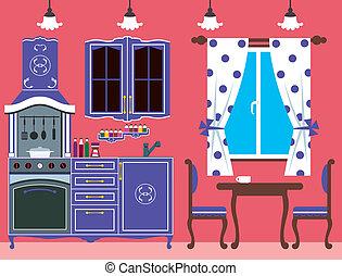 Kitchen furniture. Interior - Vector illustration. It is...