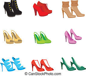 Female shoes set - Vector illustration. It is created in the...
