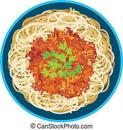 Spaghetti in a plate - Vector illustration. It is created in...