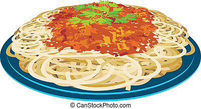 Spaghetti in a plate - Vector illustration It is created in...