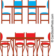 Set of dining tables and chairs
