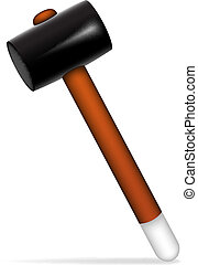 Hammer - Illustration of hammer with shadow on white...