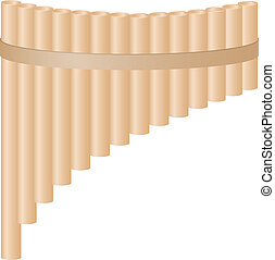 Pan flute in light brown design on white background