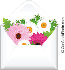 Open Envelope With Flowers
