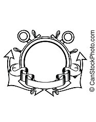 anchors and steering whell - Vector illustration crossed...