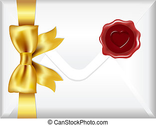 Envelope With Golden Bow And Wax Seal