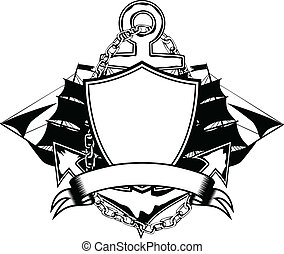 anchor and ship - Vector illustration anchor and ship