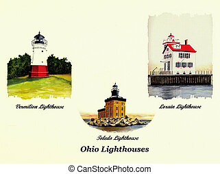 3 Ohio Lighthouses - Watercolor Painting Collage of 3 Ohio...