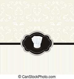 Vintage design card, chef hat frame - Vintage design card...
