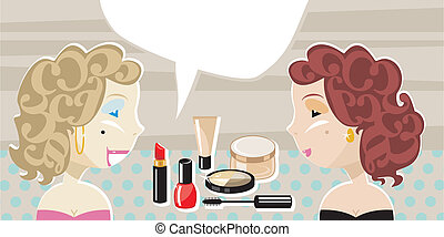 Stylish Ladies And Cosmetics - Stylish ladies with retro...