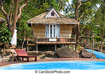 Beautiful tropical beach house in Thailand .