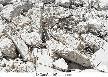 Concrete Rubble - Construction Site Concrete Rubble with Re...