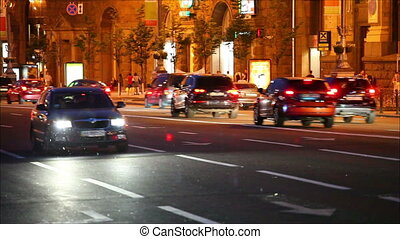 Night traffic in the city. Kiev, Ukraine