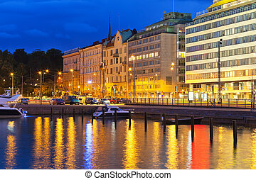 Night scenery of Helsinki, Finland - Scenic night view of...
