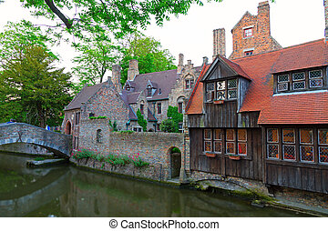 Brugges, Belgium. - detailed view of typical houses, bridge...