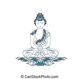 Artistic Buddhism Pattern - Vector of Chinese Traditional...