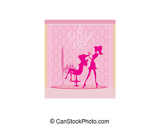 woman in hairdressing salon - Vector illustration of the...