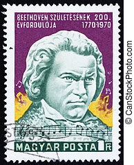 Postage stamp Hungary 1970 Statue of Beethoven by Janos...