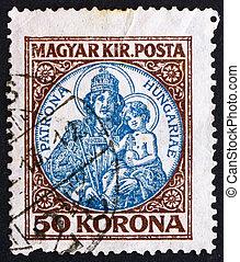 Postage stamp Hungary 1921 Madona and Child - HUNGARY -...