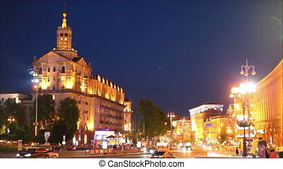 Kiev, Ukraine - Night on the main street of the city - Khreschatyk
