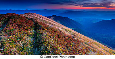 Panorama of colorful autumn landscape in the mountains....