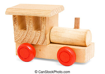 wooden train toy with red wheels