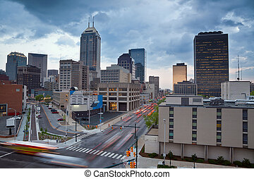 Indianapolis - Image of the Indianapolis skyline with busy...