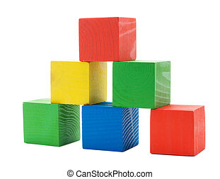 Wooden colored building pyramid of cubes toys isolated on...