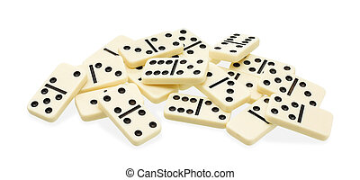 Chaotic heap of dominoes - Chaotic heap of domino on white...