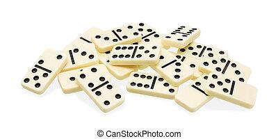 Chaotic heap of dominoes - Chaotic heap of domino on white...
