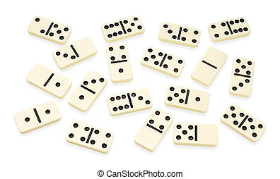 Chaotic arranged dominoes on white - Domino chaotic arranged...