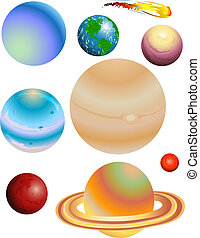 Planets - Illustration of the eight planets and a comet