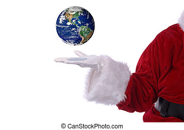 Santa Claus with earth in his white gloved hand