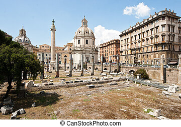 Forum Romanum - View of the Forum Romanum ruins and the Arch...