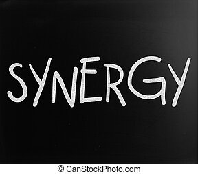 "The word ""Synergy"" handwritten with white chalk on a..."