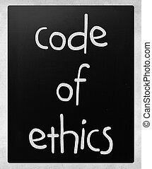 """Code of ethics"" handwritten with white chalk on a..."