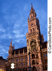 Munchen City Hall - Image showing the Clock Tower of the...