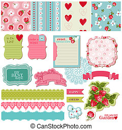 Scrapbook Design Elements - Vintage Flowers and Strawberry...